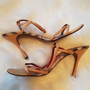 Authentic Burberry Strappy Heeled Sandals Sz 39.5